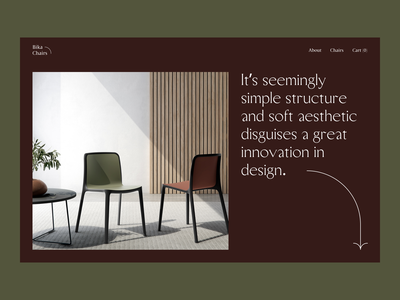 bika chairs furniture e-commerce webdesign landing web ui ux