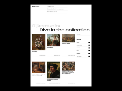 RIJKSmuseum Collection Page collection museum of art museum webdesign web ui ux