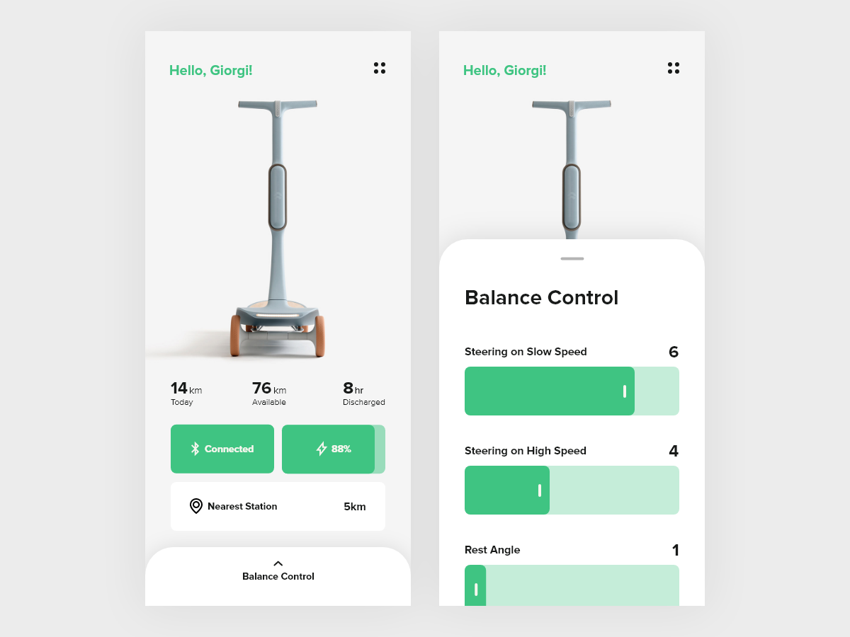 Scooter Control App Concept ui ux ios scooter interface mobile control app