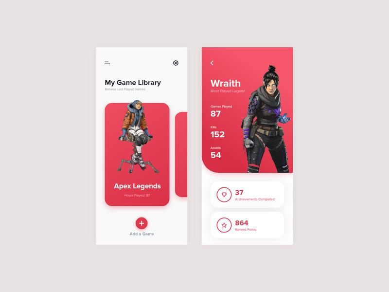 Gametracker App Concept mobile ui ux apex legends stats tracker games gaming
