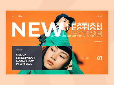 SHN landing ui ux news e-commerce clothing fashion