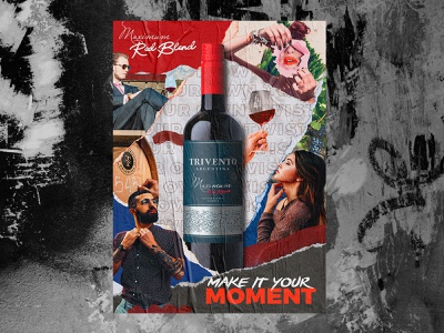 Trivento Red Blend - US people concept design winery collage advertising poster wine