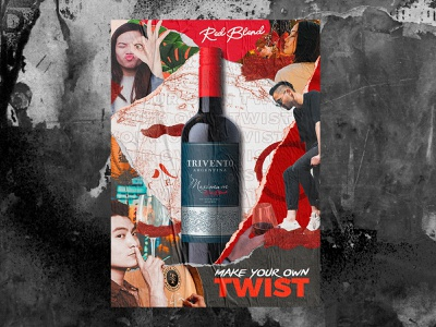 Trivento Red Blend - Asia winery wine people poster collage concept design advertising asia