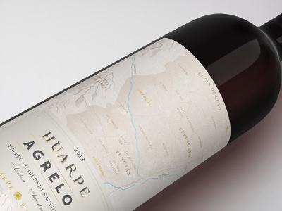 Huarpe Terroir - Wine Label map bottle winery design packaging wine label