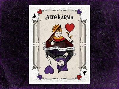 Alto Karma Poster vintage texture heart queen of hearts design card band music queen karma poster illustration