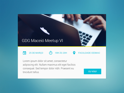 Event Card - Google Developer Groups material design google card event angular js layout dashboard website