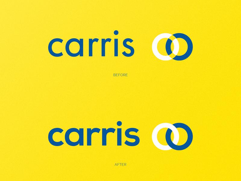 Carris | Rebranding (Unofficial) identity branding blue mark logo design branding yellow brand identity bus logo design logo mark logo logotype circles before and after before after rebrand rebranding redesign portugal carris