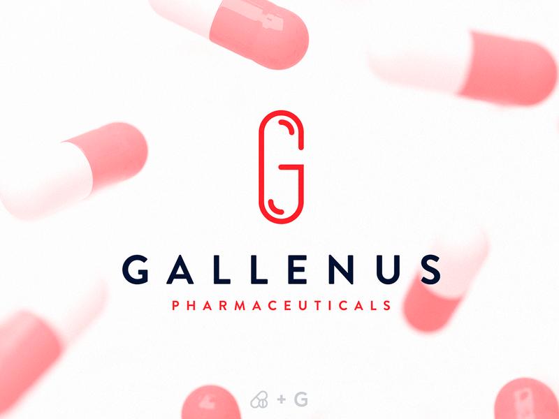 Gallenus | Logotype letter mark wordmark creative drugs red medicines pharma pharmaceuticals pharmacy letter g pill portugal logo design branding brand identity logo logotype smart logo