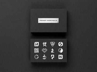 POCKET PORTFOLIO portfolio silver foil blackpaper businesscards mark monogram branding logo