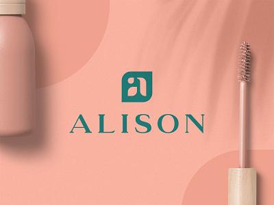 Alison – Vegan Cosmetic logomark alison cosmetics cosmetic vegan type green mark branding logo