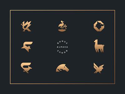 WORK 2020 holidays 2020 portfolio gold bird alpaca animal mark branding logo
