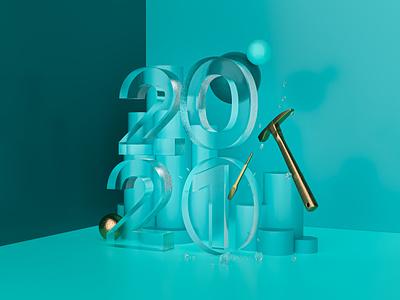2021 ice 3d render happy new year 2021
