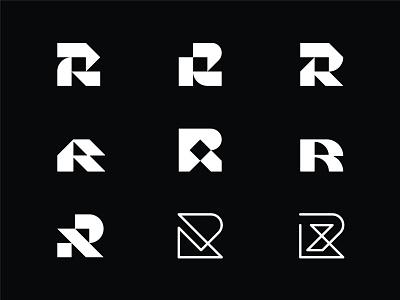 R Lettermark geometric blackandwhite lettermarks lettermark r mark r logo branding mark