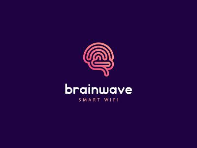 Brainwave branding logo brain wireless wlan wifi