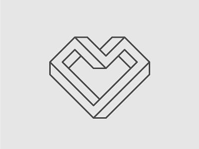 Isometric Love perspective stroke escher love heart isometric