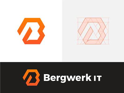 Approved logo for IT company technology monogram orange hexagon tech it wordmark branding mark lgoo
