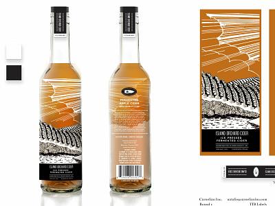 Bottle Art Island Orchard Cider packaging design branding doorcounty wisconsin illustration cider bottle