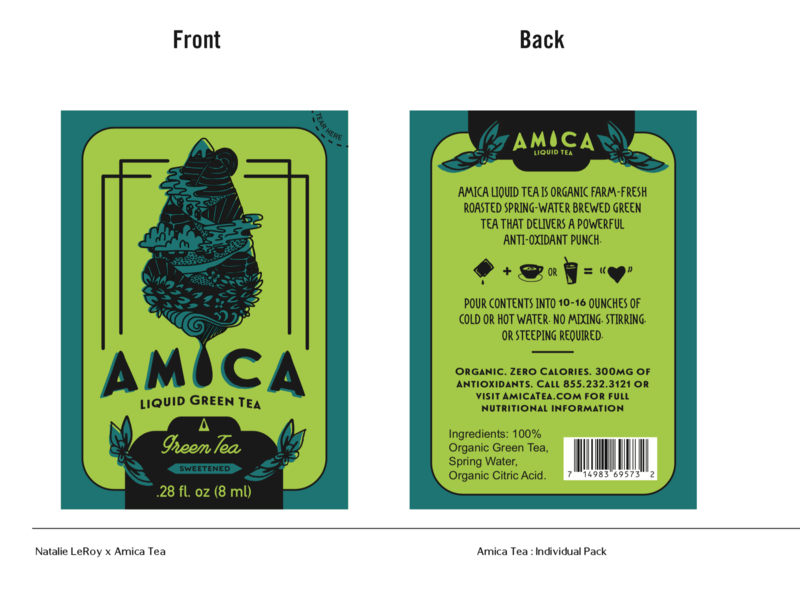 Amica Green Tea package mockup identity illustration packagedesign