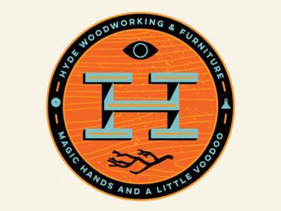 Hyde Woodworking graphic design identity logo design wood background badge logo