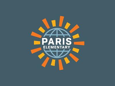 Paris Elementary Evolution elementary logo globe sun school