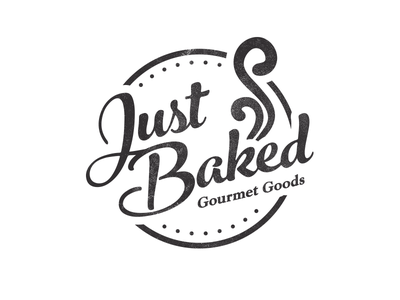 Just Baked Logo graveyard bakery gourmet black and white badge seal vintage logo identity brand