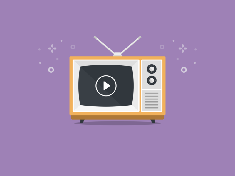 Faux Video in Email illustration flat blog email video vintage television tv