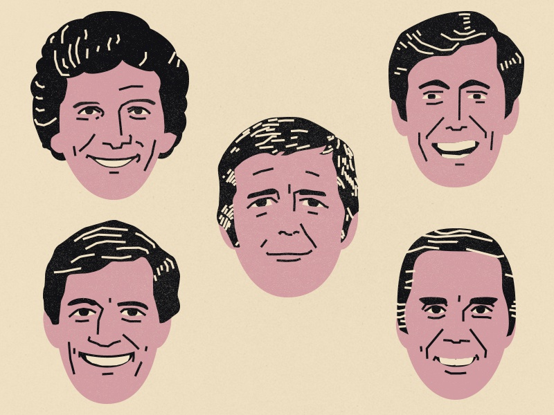 Game Show Hosts caricature vector illustration