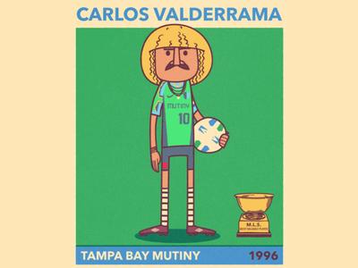 Carlos Valderrama mls vector portrait futbol football soccer caricature illustration