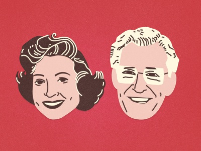 Betty White + Allen Ludden betty white valentine vector illustration caricature