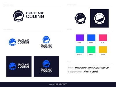 Space Age Coding Brand flat branding vector icon typography ui design illustration code spaceman logo space