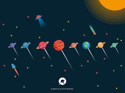 Planets lolipop sweetlick planets lollipop logo gradient colors