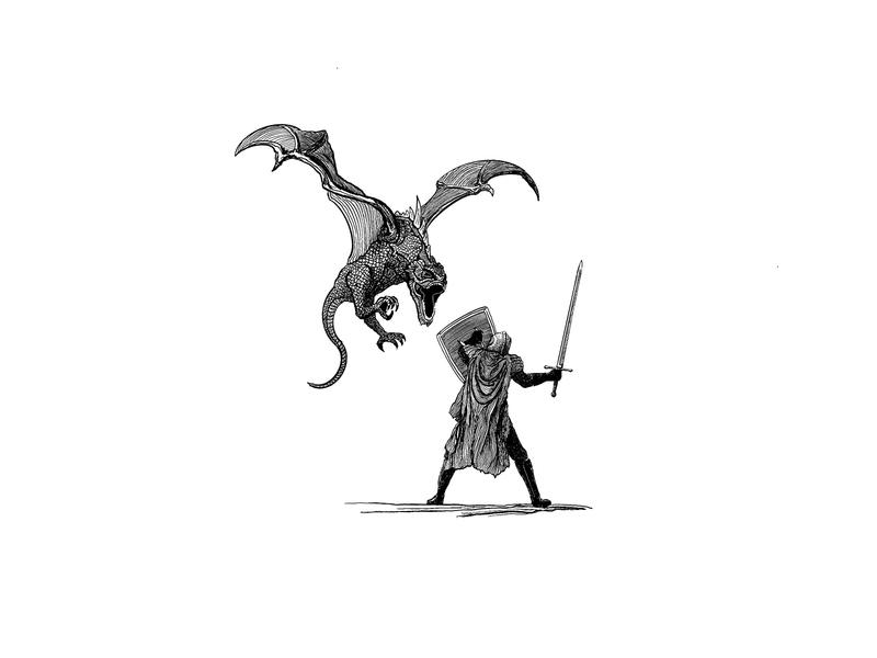 St. George etching print illustration hand drawn george knight battle dragon