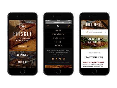 4 Rivers - Mobile web bbq menu responsive mobile restaurant interface ui