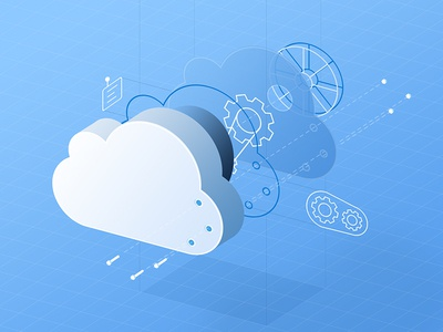 Cloud Exploded View 3d mechanical exploded view gears architecture blueprint vector cloud illustration