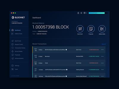 Blocknet Wallet - Dashboard