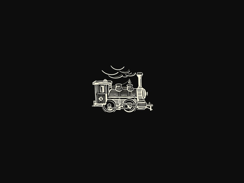 Southbound Train print locomotive lineart etching train