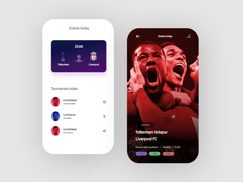 Champions League mobile mobile ui champions league minimal visual sport ui match ui football ui