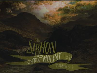 Sermon on the Mount mountain typography sketch illustration ribbon sermon