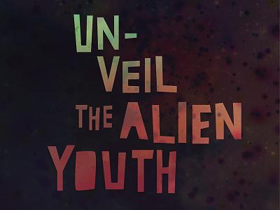 Alien typography space aliens hand-drawn lettering goo