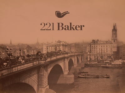221 Baker logo pipe illustration typography identity