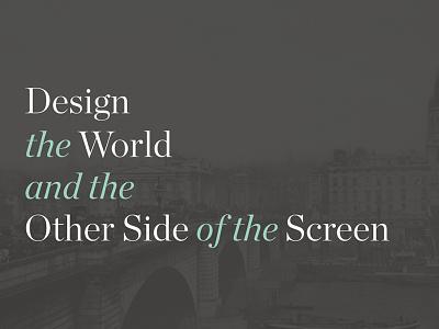 Design & The World design talks conference slides economics poverty education