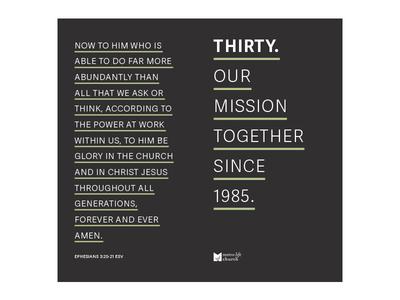 Thirty brochure editorial print church church design adelle sans