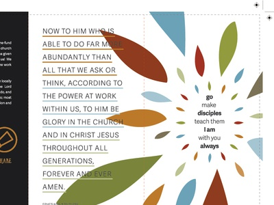 2016 Mission leaf scripture church design typography annual report brochure