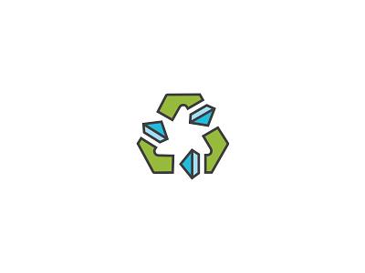 Recycled Diamonds icon mark diamond jewelry recycle brand identity logo brand