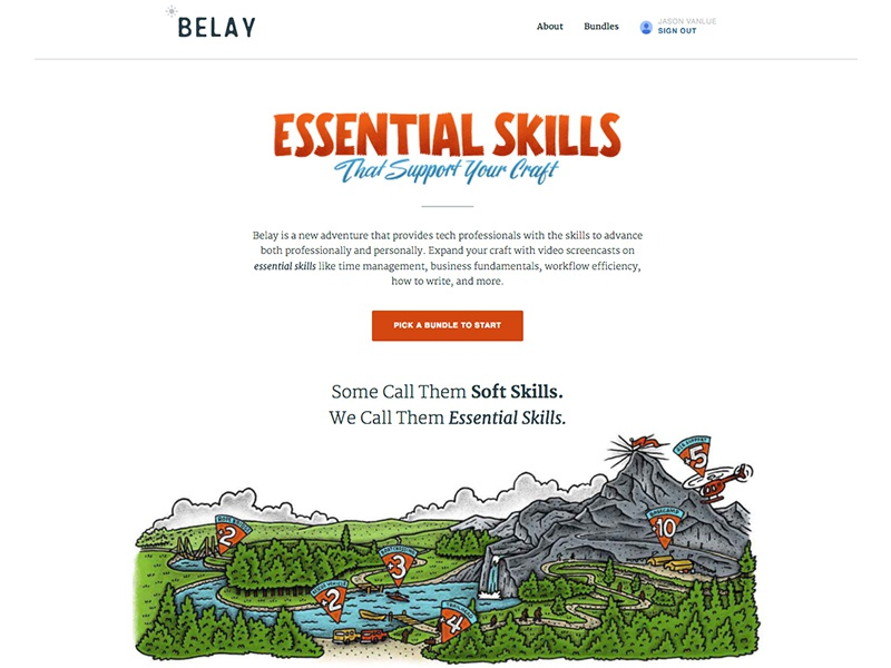 Belay Up! climbing adventure skills landing page learning education launch site product