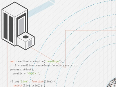 Node nodejs branding theme code javascript illustration tron schematic