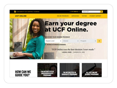 University of Central Florida conversion highered ux userexperience webdevelopment university education design web