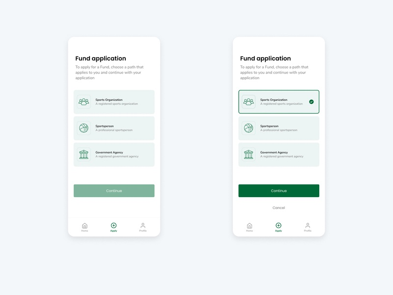 Fund application screens icon app ux ui iudesign
