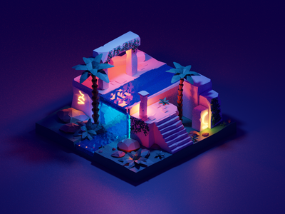 Through the Ancient Ruins polygons lowpoly3d lowpoly creative create blender animation 3dscene 3d animation 3d
