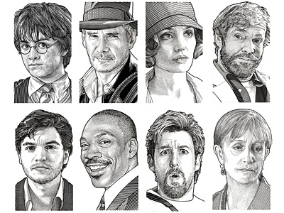 Wall Street Journal Hedcuts pen  ink portraits celebrities people illustration